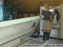 Busty blonde girlfriend sucks and fucks in a solarium Thumb