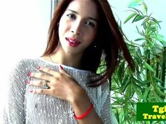 Cambodian ladyboy Nit plays with herself Thumb