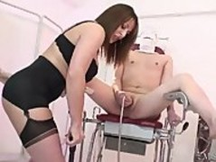 Busty Femdom MistressCarly pumps her pathetic slaves balls dry Thumb