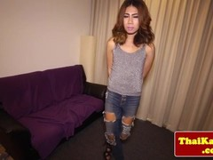 Petite thai ladyboy in jeans jerking off Thumb