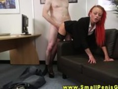 Horny femdom office slut bangs tiny cock and gets drilled Thumb