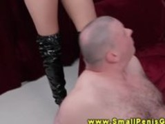 Femdom babe makes fat tiny dick guy wank Thumb