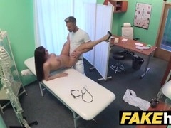 Fake Hospital Tall brunette patient with big natural tits swallows docs cum Thumb