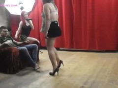 Bubbly MILF dances with assistants Thumb