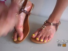 HandJoy * Cumshot on sexy oiled with and sandals * request by sneakercummer Thumb