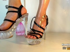 HandJoy * Cumshot on gourgeous oiled feet with extreme high heels Thumb