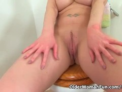 English milf Tanya Cox gets naughty on toilet Thumb