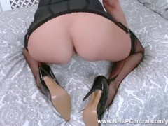 Blonde Sapphire Blue fingers pussy in open girdle and fully fashioned nylons as you wank over her Thumb