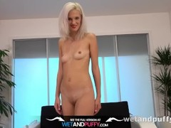 Puffy Pussy - Czech blonde toys her pussy and ass with a glass dildo Thumb