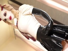 Fuck Doll Blondie Latex Lucy Sucks & Rides Silver Sex Toy Until She Cums Thumb