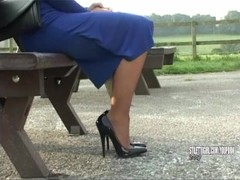 Sexy blonde Stiletto Girl Larissa stimulates your shoe fetish tottering in gorgeous high heels Thumb