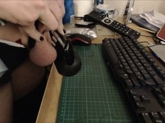LATEX CHASTITY SISSY SLUT CUMS HARD WHILE CAGED - RUINED ORGASM Thumb
