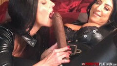 PORNSTARPLATINUM Lesbian In Leather Raven Hart Blows Strapon Thumb